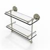Allied Brass PRBP-2TB/16-GAL-PNI 16 Inch Gallery Double Glass Shelf with Towel Bar, Polished Nickel