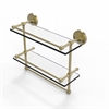 Allied Brass PRBP-2TB/16-GAL-SBR 16 Inch Gallery Double Glass Shelf with Towel Bar, Satin Brass