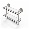 Allied Brass PRBP-2TB/16-GAL-SN 16 Inch Gallery Double Glass Shelf with Towel Bar, Satin Nickel