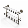 Allied Brass PRBP-2TB/22-GAL-ABR 22 Inch Gallery Double Glass Shelf with Towel Bar, Antique Brass