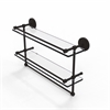 Allied Brass PRBP-2TB/22-GAL-ORB 22 Inch Gallery Double Glass Shelf with Towel Bar, Oil Rubbed Bronze
