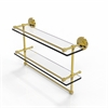 Allied Brass PRBP-2TB/22-GAL-UNL 22 Inch Gallery Double Glass Shelf with Towel Bar, Unlacquered Brass