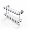 Allied Brass PRBP-2TB/22-GAL-PC 22 Inch Gallery Double Glass Shelf with Towel Bar, Polished Chrome