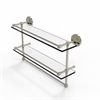 Allied Brass PRBP-2TB/22-GAL-PNI 22 Inch Gallery Double Glass Shelf with Towel Bar, Polished Nickel