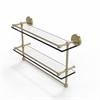 Allied Brass PRBP-2TB/22-GAL-SBR 22 Inch Gallery Double Glass Shelf with Towel Bar, Satin Brass