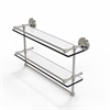 Allied Brass PRBP-2TB/22-GAL-SN 22 Inch Gallery Double Glass Shelf with Towel Bar, Satin Nickel
