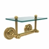 Allied Brass PR-GLT-24-UNL Prestige Regal Collection Two Post Toilet Tissue Holder with Glass Shelf, Unlacquered Brass