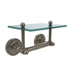 Allied Brass PR-GLT-24-PEW Prestige Regal Collection Two Post Toilet Tissue Holder with Glass Shelf, Antique Pewter