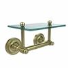 Allied Brass PR-GLT-24-SBR Prestige Regal Collection Two Post Toilet Tissue Holder with Glass Shelf, Satin Brass