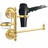 Allied Brass PR-GTBD-1-UNL Prestige Regal Collection Hair Dryer Holder and Organizer, Unlacquered Brass