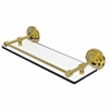 Allied Brass QN-1/16-GAL-UNL Que New 16 Inch Tempered Glass Shelf with Gallery Rail, Unlacquered Brass