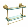 Allied Brass QN-2TB/16-GAL-UNL 16 Inch Gallery Double Glass Shelf with Towel Bar, Unlacquered Brass