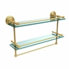 Allied Brass QN-2TB/22-GAL-UNL 22 Inch Gallery Double Glass Shelf with Towel Bar, Unlacquered Brass