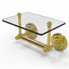 Allied Brass QN-GLT-24-UNL Que New Collection Two Post Toilet Tissue Holder with Glass Shelf, Unlacquered Brass