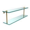 Allied Brass RC-2/22-UNL 22 Inch Two Tiered Glass Shelf, Unlacquered Brass