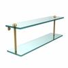 Allied Brass RC-2/22-UNL 22 Inch Two Tiered Glass Shelf, Unlacquered Brass