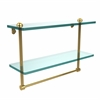 Allied Brass RC-2/16TB-UNL 16 Inch Two Tiered Glass Shelf with Integrated Towel Bar, Unlacquered Brass