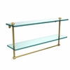 Allied Brass RC-2/22TB-UNL 22 Inch Two Tiered Glass Shelf with Integrated Towel Bar, Unlacquered Brass