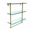 Allied Brass RC-5/16TB-UNL 16 Inch Triple Tiered Glass Shelf with Integrated Towel Bar, Unlacquered Brass
