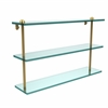 Allied Brass RC-5/22-UNL 22 Inch Triple Tiered Glass Shelf, Unlacquered Brass