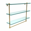Allied Brass RC-5/22TB-UNL 22 Inch Triple Tiered Glass Shelf with Integrated Towel Bar, Unlacquered Brass