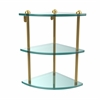 Allied Brass RC-6-UNL Three Tier Corner Glass Shelf, Unlacquered Brass