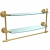 Allied Brass RD-34TB/18-UNL Retro Dot Collection 18 Inch Two Tiered Glass Shelf with Integrated Towel Bar, Unlacquered Brass