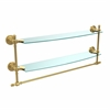 Allied Brass RD-34TB/24-UNL Retro Dot Collection 24 Inch Two Tiered Glass Shelf with Integrated Towel Bar, Unlacquered Brass