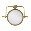 Allied Brass RDM-4/4X-UNL Retro Dot Collection Wall Mounted Swivel Make-Up Mirror 8 Inch Diameter with 4X Magnification, Unlacquered Brass
