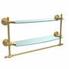 Allied Brass RW-34TB/18-UNL Retro Wave Collection 18 Inch Two Tiered Glass Shelf with Integrated Towel Bar, Unlacquered Brass