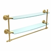 Allied Brass RW-34TB/24-UNL Retro Wave Collection 24 Inch Two Tiered Glass Shelf with Integrated Towel Bar, Unlacquered Brass