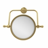 Allied Brass RWM-4/2X-UNL Retro Wave Collection Wall Mounted Swivel Make-Up Mirror 8 Inch Diameter with 2X Magnification, Unlacquered Brass