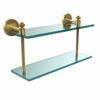 Allied Brass SB-2/16-UNL Southbeach Collection 16 Inch Two Tiered Glass Shelf, Unlacquered Brass