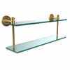 Allied Brass SB-2/22-UNL Southbeach Collection 22 Inch Two Tiered Glass Shelf, Unlacquered Brass