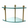 Allied Brass SB-3-UNL Southbeach Collection Two Tier Corner Glass Shelf, Unlacquered Brass