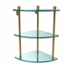 Allied Brass SB-6-UNL Southbeach Collection Three Tier Corner Glass Shelf, Unlacquered Brass