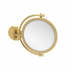 Allied Brass WM-4/4X-UNL 8 Inch Wall Mounted Make-Up Mirror 4X Magnification, Unlacquered Brass
