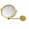 Allied Brass WM-5/5X-UNL 8 Inch Wall Mounted Make-Up Mirror 5X Magnification, Unlacquered Brass