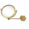Allied Brass WM-5D/2X-UNL 8 Inch Wall Mounted Make-Up Mirror 2X Magnification, Unlacquered Brass