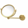 Allied Brass WM-5G/2X-UNL 8 Inch Wall Mounted Make-Up Mirror 2X Magnification, Unlacquered Brass