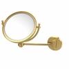 Allied Brass WM-5G/2X-UNL 8 Inch Wall Mounted Make-Up Mirror 2X Magnification, Unlacquered Brass