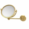Allied Brass WM-5T/2X-UNL 8 Inch Wall Mounted Make-Up Mirror 2X Magnification, Unlacquered Brass