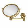 Allied Brass WM-6/2X-UNL 8 Inch Wall Mounted Extending Make-Up Mirror 2X Magnification, Unlacquered Brass