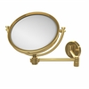 Allied Brass WM-6/5X-UNL 8 Inch Wall Mounted Extending Make-Up Mirror 5X Magnification, Unlacquered Brass