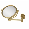 Allied Brass WM-6G/5X-UNL 8 Inch Wall Mounted Extending Make-Up Mirror 5X Magnification with Groovy Accent, Unlacquered Brass