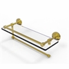 Allied Brass WP-1PT/16-GAL-UNL Waverly Place Collection Paper Towel Holder with 16 Inch Gallery Glass Shelf, Unlacquered Brass
