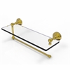 Allied Brass WP-1PT/16-UNL Waverly Place Collection Paper Towel Holder with 16 Inch Glass Shelf, Unlacquered Brass
