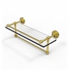 Allied Brass WP-1TB/16-GAL-UNL 16 Inch Gallery Glass Shelf with Towel Bar, Unlacquered Brass
