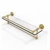Allied Brass WP-1TB/22-GAL-UNL 22 Inch Gallery Glass Shelf with Towel Bar, Unlacquered Brass