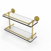 Allied Brass WP-2/16-GAL-UNL Waverly Place 16 Inch Double Glass Shelf with Gallery Rail, Unlacquered Brass
